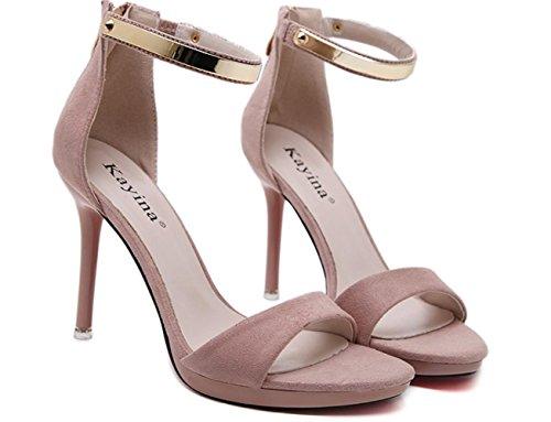 CSDM Women Stiletto Heel 2017 Nouvelle mode Sandales à talons hauts Goddess Essential Summer Casual Casual Shoes Pink
