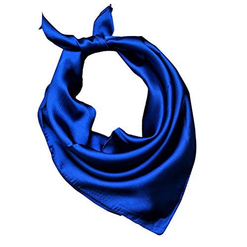 Tinksky Frauen Silk Square Schal Halstuch Kopf Schal Solid Color Soft Wrap Schal (Royal Blue)