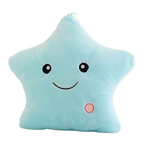 Confortable et léger éclat lumineux Musical & Star-Plush-Coussin-Bleu
