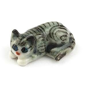 MyTinyWorld Dolls House Miniature Ceramic Grey Tabby Cat