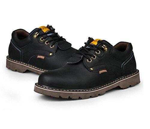WZGoutillage en cuir chaussures de plein air nouveaux hommes glissent les chaussures de chaussures résistantes hommes pour aider à faible encombrement Black