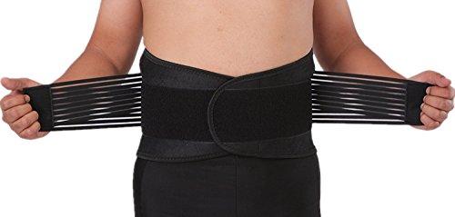 AGIA TEX Rückenbandage / Nierengurt aus Neopren Orthopädischer Rückenstütz-Gürtel mit Stützfunktion atmungsaktiv Linderung Rücken-Schmerzen im Lendenwirbel-Bereich für Damen Herren Arbeit Sport Freizeit (L = 90 - 100 cm Bauchumfang, Blau / Schwarz)