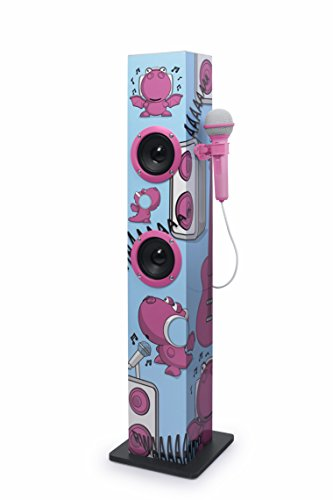 Muse M-1020 KDG Bluetooth-Tower für Kinder mit Mikrofon und Karaoke-Funktion (Bluetooth, Aux-Eingang, Mikro-Eingang) Rosa mit Comic-Motiven