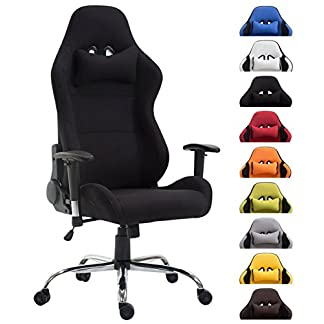 CLP Silla Racing Rosberg en Tela I Silla Gamer Regulable en Altura & Giratoria I Silla Gaming con Ruedas I Color: Blanco
