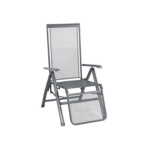 greemotion Chaise relax en métal Toulouse – Chaise longue de jardin avec dossier réglable – Fauteuil multiposition gris métal – Bain de soleil pliant – Chaise pliante avec accoudoir et repose pied