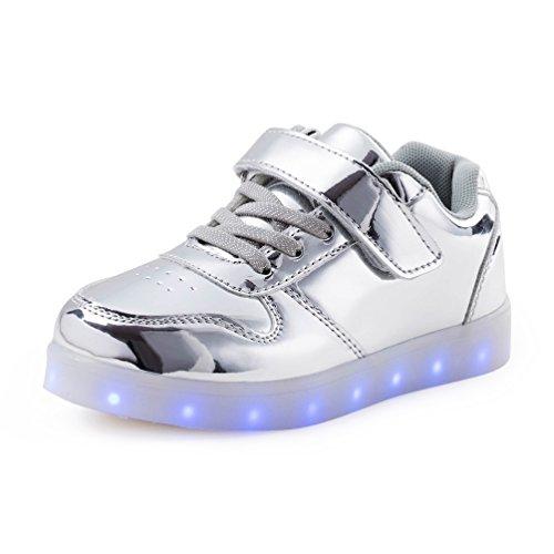 AFFINEST Led Chaussures de sport LED lumineux de charge USB Enfants garçons Filles Cadeau silver