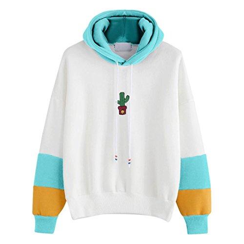 WOCACHI Damen Kapuzenpullover Mode Frauen Langarm Kaktus gedruckt Patchwork Loose Hoodie Sweatshirt Weiß Tops Bluse (L/38, Himmelblau)