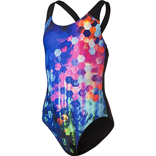 Speedo Placement Digital Spashback Bañador, Niñas, Negro popflash/New Surf/Violeta Rosado, 26
