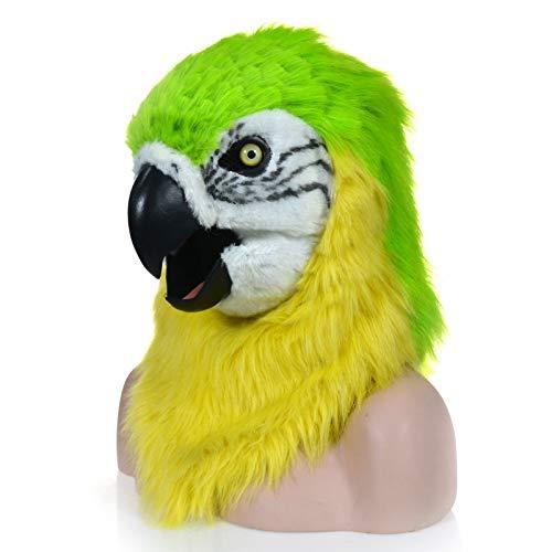 XIANCHUAN Mode Funktion Mundbewegende Maske Grüner Papagei Tierwelt Kopf Halloween Maske Gruseliger Mund Aktivität Lustig Haarig Atmungsaktiv Neuheit Kostüm (Color : Green, Size : 25 * 25)