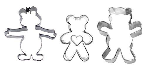 "Ausstechset \""Bärenbande\"" 3er-Set Bär mit Herz - Mandelbär - Teddybär - Keksausstecher - Ausstecher - Ausstechform"