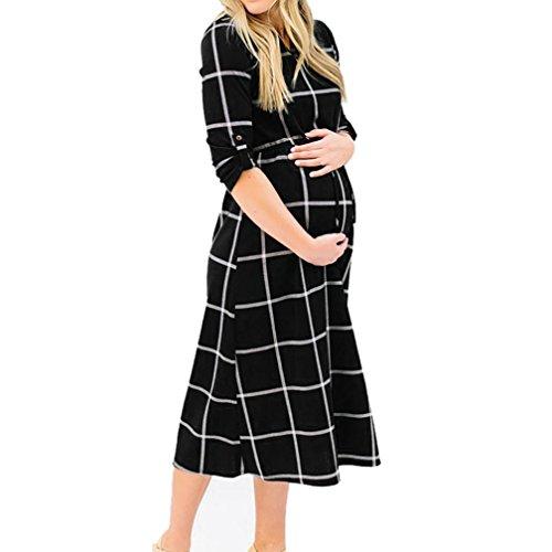 Las mujeres embarazadas Sexy fotografía Props Casual lactancia Boho Chic Tie vestido largo Casual vestido suelto negro negro S