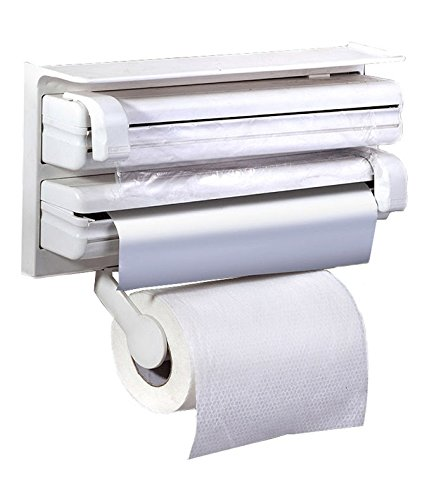 SOSA 3 in 1 Kitchen Triple Paper Dispenser & Holder Paper/ Foil/ Cling Wrap - 3 in 1 Wrap Center Holds Silver Foil, Plastic Wrap, and Paper Towels  available at amazon for Rs.597
