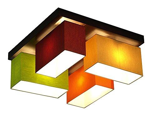 Dunkle Cappuccino-holz (Deckenlampe - Wero Design Vitoria-001 Mix WEINROT/GREEN/CAPPUCCINO/ORANGE - Deckenleuchte, Leuchte, Lampenschirme, 4-flammig, Holz, Stoff, Chrom)