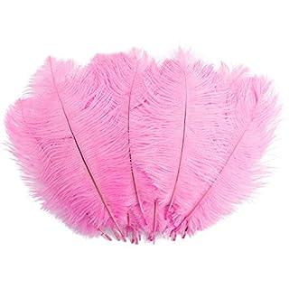 Surepromise Lot de 20plumes d'autruche pour cheveux Chapeaux Crafts Home Décoration de fête de mariage 10–30,5cm Rose