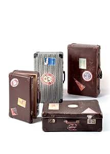 Valise avec autocollants d'hôtels tailles. Authentiques vieilles valises.