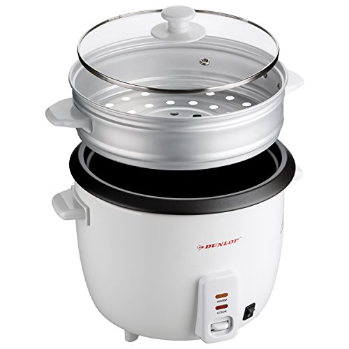 2in1 Dunlop elektrischer Reiskocher & Dampfgarer | 1,8 L 700W Dampfgaraufsatz mit Glasdeckel I Zubereitungs- und Aufwärmanzeige | Anti-Haft-Beschichtung | Warmhaltefunktion I bis zu 8 Personen