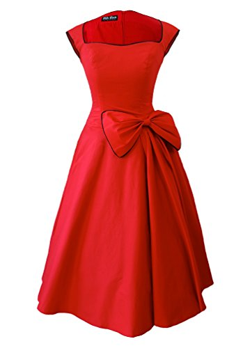 New Vintage 1950s 60s Rockabilly balançoire Robe de soirée Rouge - Rouge