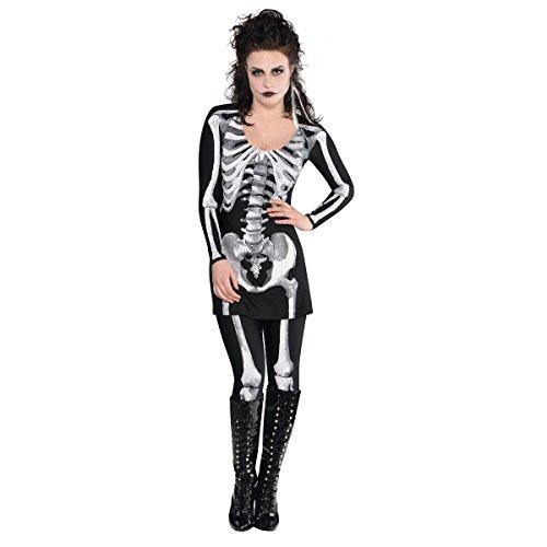 New Amscan Damen Halloween Bare Bones Skelett Kleid und Strumpfhosen Kostüm, schwarz, Größe UK-Groß-14-16