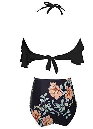 Damen Bikini Set Retro Volant Hohe Taille Bademode Badeanzug Neckholder Zweiteilige Strandkleidung für Frauen Schwarz S - 6