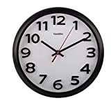 Stylish Black & White Bold 3D Classic Quartz Wall Clock Non Ticking Silent Sweeping Seconds / Large Bold Numbers in 3D style