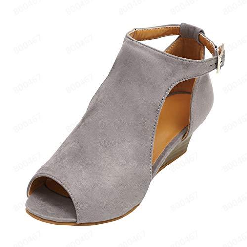 COZOCO Damen Schnalle Strap Schuhe Sommer Fisch Mund Schuhe Keil Sandalen Knöchel Schnalle Peep Toe High Heels(beige,36 EU)