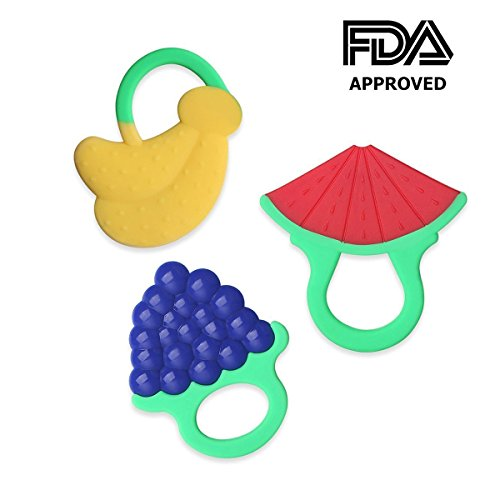 Zakitane Baby Fruit Teether Teething Toys Chewable Silicone Teethers with Rings Infant Toddler Teething Pain Relief BPA Free Set of 3 41 2B44S429GL