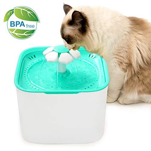Yokunat Haustier-Wasser-Brunnen, Katzen-Hund Trinkwasser-Brunnen-Trinkwasserspender Gesunde Katzen-Wasserfall mit 3 Wasser-Modi und 1 Reinigungsbürste, 2L