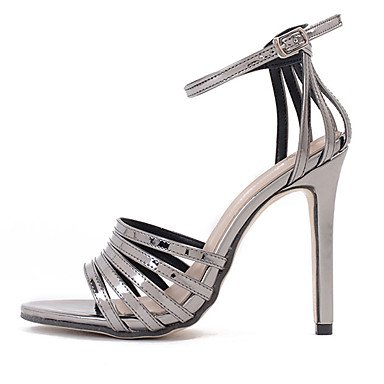 LvYuan Da donna Sandali Vernice Estate Fibbia A stiletto Nero Grigio scuro 10 - 12 cm dark grey
