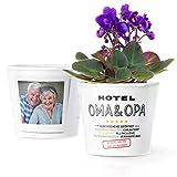 Facepot Hotel Oma Opa Geschenk - Blumentopf (ø16cm) Lustige Geschenke für Großeltern mit Bilderrahmen für Zwei Fotos (10x15cm) - Durchgehend geöffnet