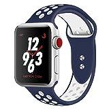 Straper Für Apple Watch Armband 38mm, Qualität Weich Silikon Sport Ersatzarmband Uhrenarmbänder für iWatch Series 3 Series 2 Series 1 Nike+ Edition Blau/Weiß