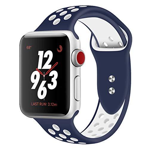 Cinturino sportivo per apple watch, cinturino in silicone morbido per bracciali di ricambio per apple watch sport series 3 series 2 series 1 nike + sport e edizione (midnight blue/white 38mm s/m)