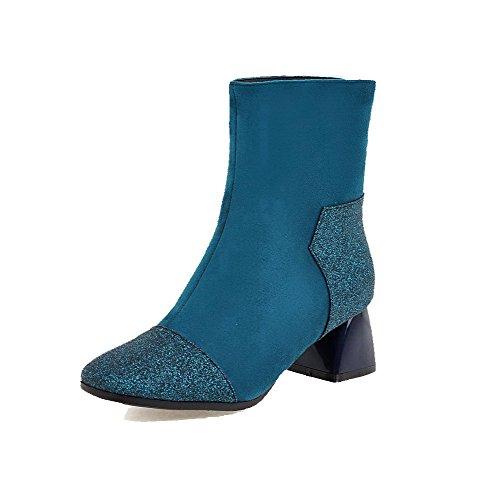 AllhqFashion Damen Quadratisch Zehe Mittler Absatz Rein Stiefel mit Paillette Blau