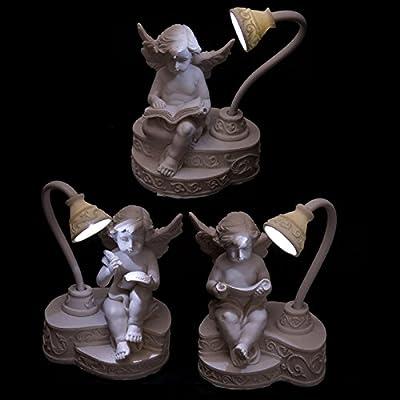 Iluminated LED Angel Cherub with Reading Lamp Ornament Figurine Gift