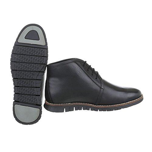 Stiefeletten Leder Herrenschuhe Chelsea Boots Schnürer Schnürsenkel Ital-Design Boots Schwarz