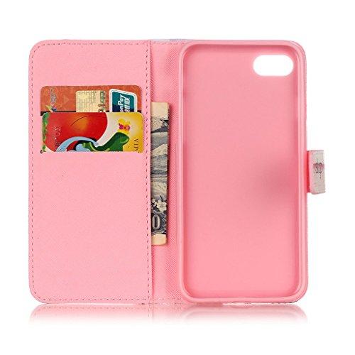 CareyNoce Apple iphone 7 Coque,Flip Housse Etui Cuir PU Coque pour Apple iPhone 7 (4.7 pouces) -- Rouge Léopard Impression T22