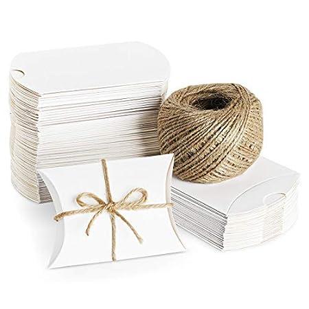 ABSOFINE 100 STK. Weiß Süßigkeiten Karton Hochzeit Gastgeschenke Geschenkboxen 7x9cm mit Juteschnur 60M für Süßigkeiten…