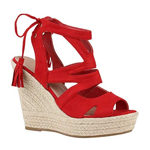 Stiefelparadies Damen Sandaletten Bast Keilabsatz Espadrilles Wedges Schuhe 172771 Rot Quasten 41 Flandell