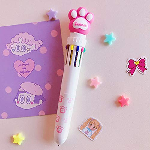 Chyxxq Cute Color Press Ballpoint Pen Cartoon Student Writing Pen Multi-Function Hand Account Pen Ten Color Note Pen Pen Claw Pen Five Packs Code