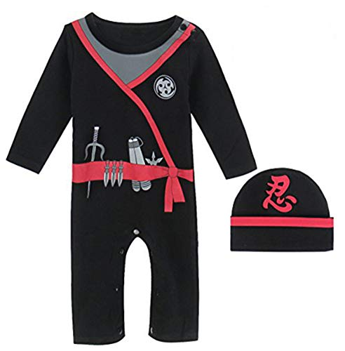 Mombebe Déguisement Bébé Garçon Ninja Costume Barboteuse avec Chapeau (Ninja, 12-18 Mois)
