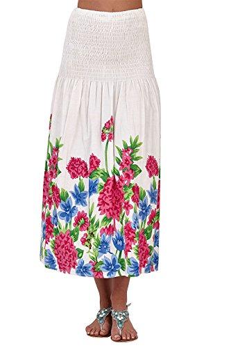 femmes Pistachio jardin floral 3 En 1 Midi femmes jupe coton robe dos nu Pink Large Flower