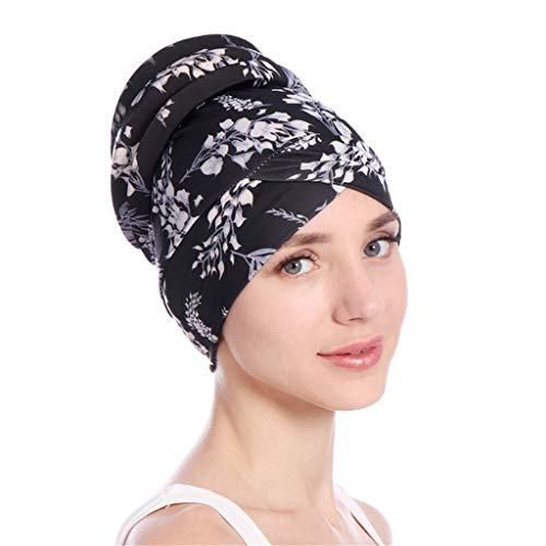 Dorical Damen Muslimische Kopftuch Blätter Design Indische Turban-Hüte Mütze Kopfbedeckung Muslimische Kopftuch Hut Mütze für Haarverlust, Chemo, Krebs Cap Chemotherapie,Einheitsgröße(Schwarz)