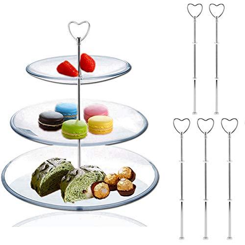 �Ebenen VINTAGE Kuchen Teller Ständer Beschläge Metall unterstützt auf dem Kuchen steht steht Teller Mitte Griff Armatur für Cupcake Fruit Desserts Gerichte Heart Pattern Silvery ()