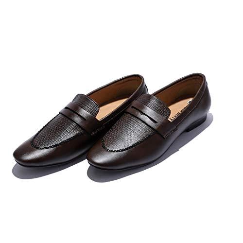 Curewe Kerien DIE-MOCC-Men's Brown Satin Metal Silver Tip Loafer Dress Shoes Stripes Church Groomsmen Slip on (11)