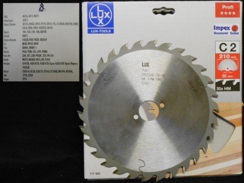 OBI LUX 117462 C2 Profi HM-Kreissägeblatt 210 x 30 mm, 30 Z