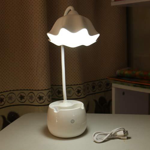 Neue kreative stifthalter USB lade LED augenschutz tischlampe drei geschwindigkeiten touch-schalter student schlafsaal lernen leselampe 1017 weiß lotus 12 * 15 * 42 -