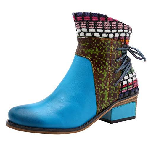 RYTEJFES Damen Stiefeletten mit Absatz Leder Bunter Druck Entwurf Spleißen Kurze Stiefel Chunky Block Heels Zipper Schuhe Warme Pelz Gefüttert Winter Schneeschuhe Retro Elegante Party Schuhe
