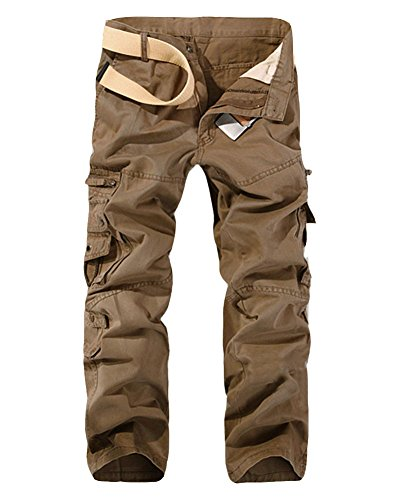 Cargohose Herren Freizeithose Kampfhose Arbeitshose Mehrere Tasche Light Bräunen 29 (Braune Jogginghose)