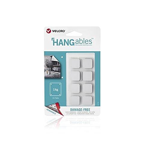 Klettverschluss Marke hangables Wiederablösbare gurthalteband Squares weiß, weiß, 19mm x 16 sets