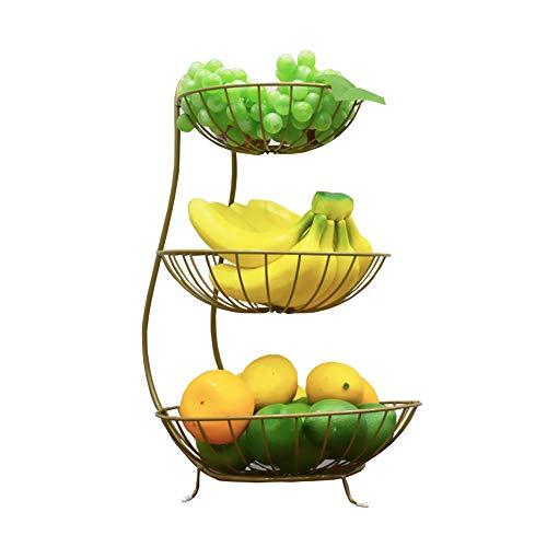 BAIJ 3 Tier Obstkorbhalter Schüssel Stehen, Grid Server, Gemüse Küche Ablagekorb, Küche Storage Organizer Rack, Dekorative Gegenstände,Gold 3-tier-dessert-server
