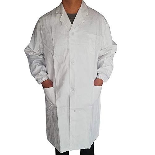 SMILEQ Ausverkauf Damen Mädchen Männer Unisex Laborkittel Langarm Weiß Outwear Bluse mit Taschen (L, Weiß) (Junior Trenchcoat)